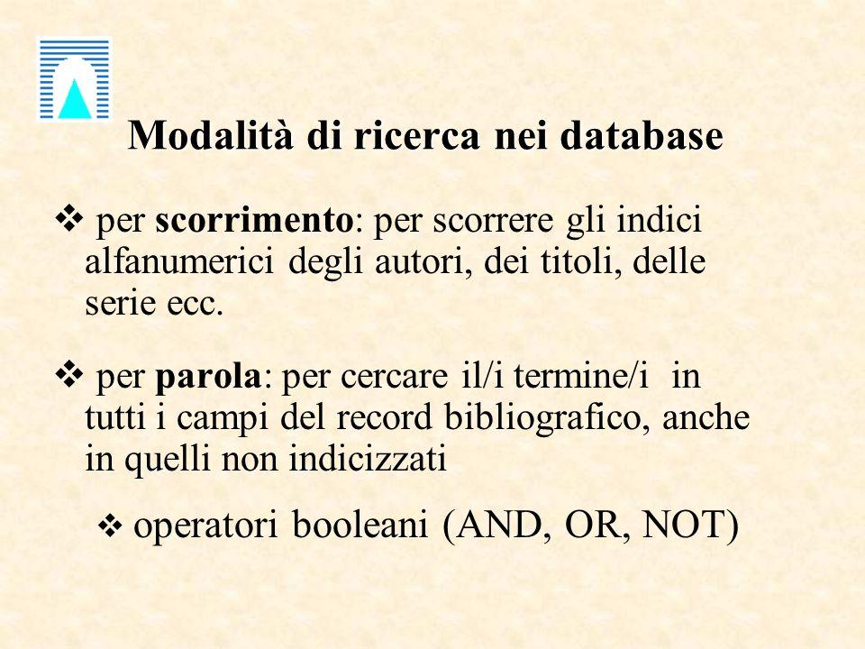 Modalità di ricerca nei database per scorrimento: per scorrere gli indici alfanumerici degli autori, dei titoli, delle serie ecc. per parola: per cerc