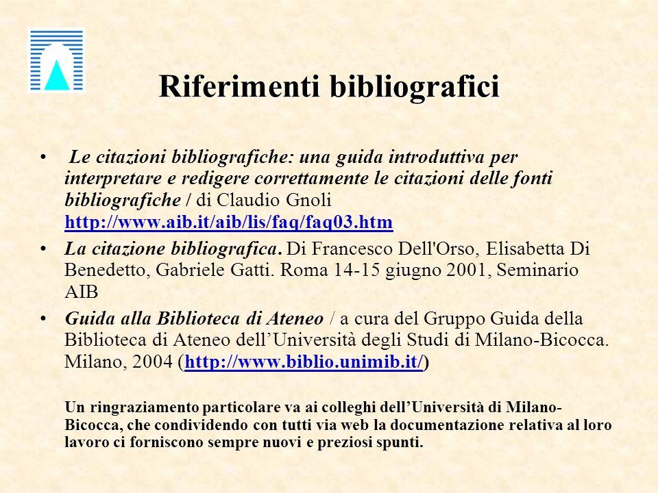 Riferimenti bibliografici Le citazioni bibliografiche: una guida introduttiva per interpretare e redigere correttamente le citazioni delle fonti bibliografiche / di Claudio Gnoli http://www.aib.it/aib/lis/faq/faq03.htm http://www.aib.it/aib/lis/faq/faq03.htm La citazione bibliografica.