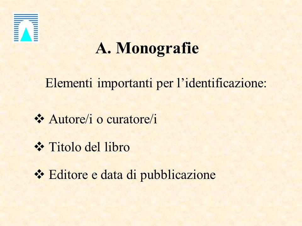 A. Monografie Elementi importanti per lidentificazione: Autore/i o curatore/i Titolo del libro Editore e data di pubblicazione