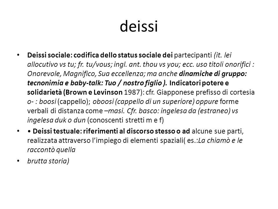 deissi Deissi sociale: codifica dello status sociale dei partecipanti (it. lei allocutivo vs tu; fr. tu/vous; ingl. ant. thou vs you; ecc. uso titoli