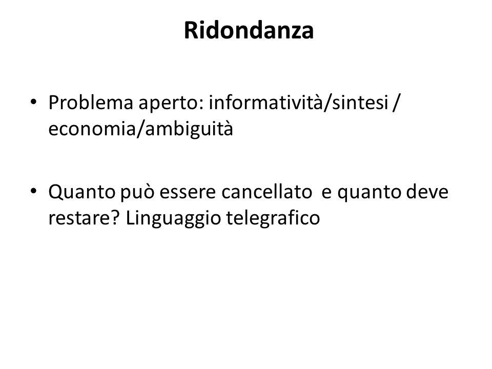 Ridondanza Problema aperto: informatività/sintesi / economia/ambiguità Quanto può essere cancellato e quanto deve restare.