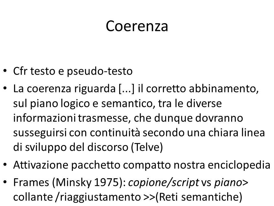 Coerenza Cfr testo e pseudo-testo La coerenza riguarda [...] il corretto abbinamento, sul piano logico e semantico, tra le diverse informazioni trasmesse, che dunque dovranno susseguirsi con continuità secondo una chiara linea di sviluppo del discorso (Telve) Attivazione pacchetto compatto nostra enciclopedia Frames (Minsky 1975): copione/script vs piano> collante /riaggiustamento >>(Reti semantiche)