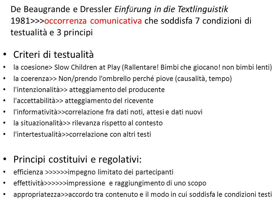 De Beaugrande e Dressler Einf ü rung in die Textlinguistik 1981>>>occorrenza comunicativa che soddisfa 7 condizioni di testualità e 3 principi Criteri