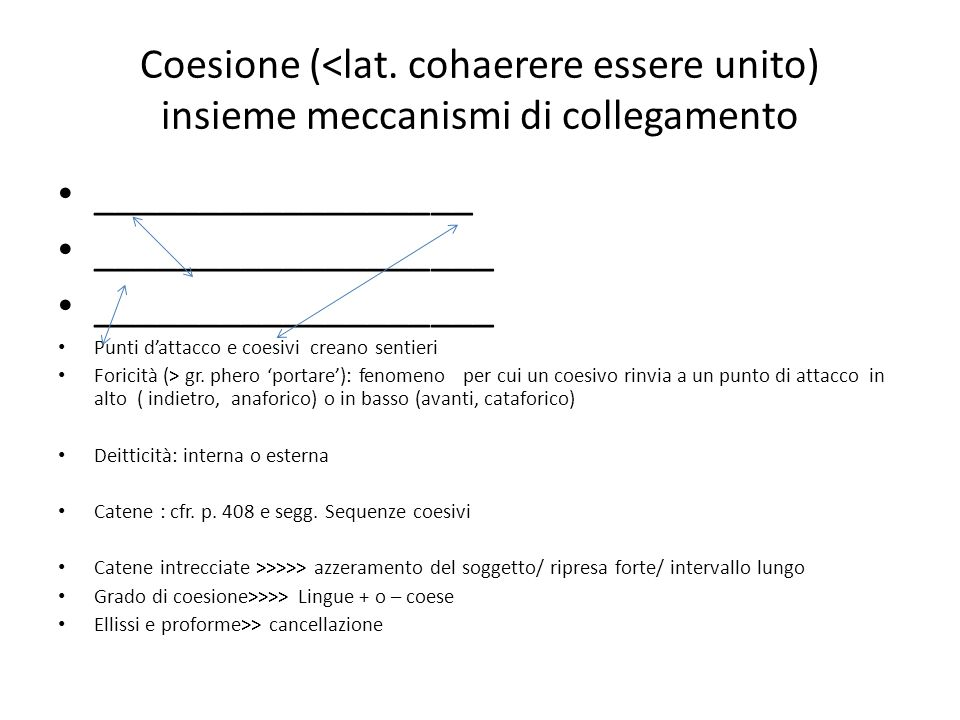 Coesione (<lat. cohaerere essere unito) insieme meccanismi di collegamento __________________ ___________________ Punti dattacco e coesivi creano sent