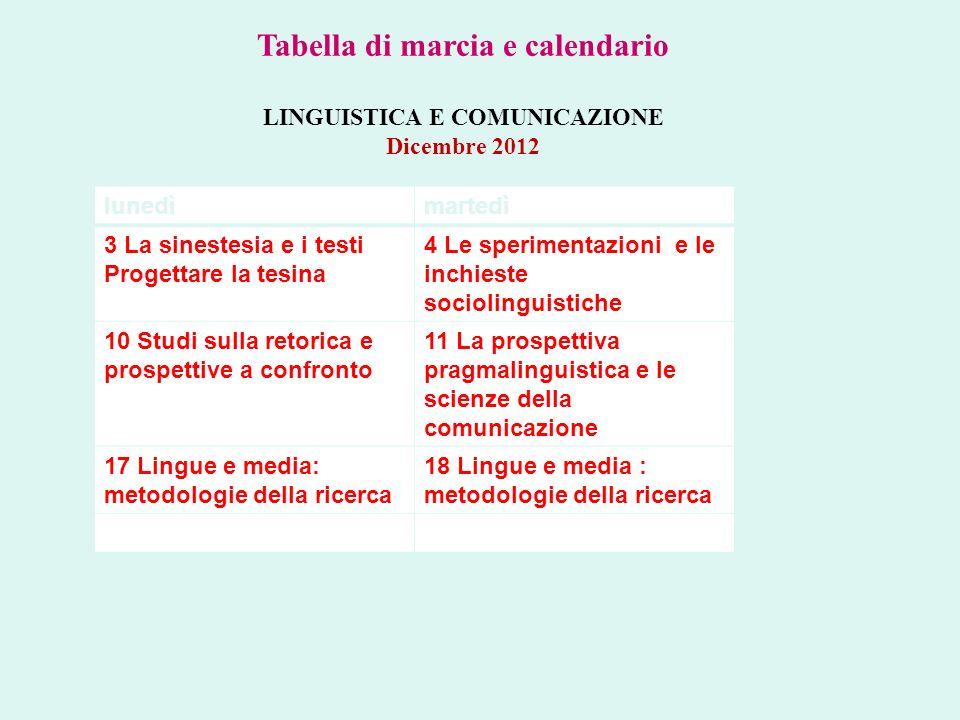 lunedìmartedì 3 La sinestesia e i testi Progettare la tesina 4 Le sperimentazioni e le inchieste sociolinguistiche 10 Studi sulla retorica e prospetti