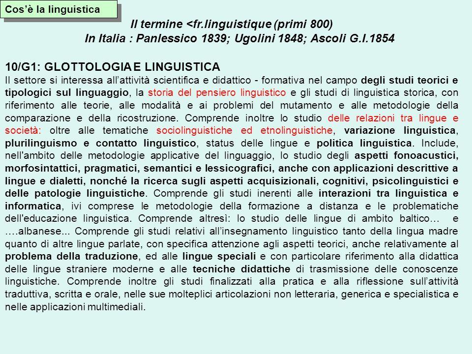 Il termine <fr.linguistique (primi 800) In Italia : Panlessico 1839; Ugolini 1848; Ascoli G.I.1854 10/G1: GLOTTOLOGIA E LINGUISTICA Il settore si inte