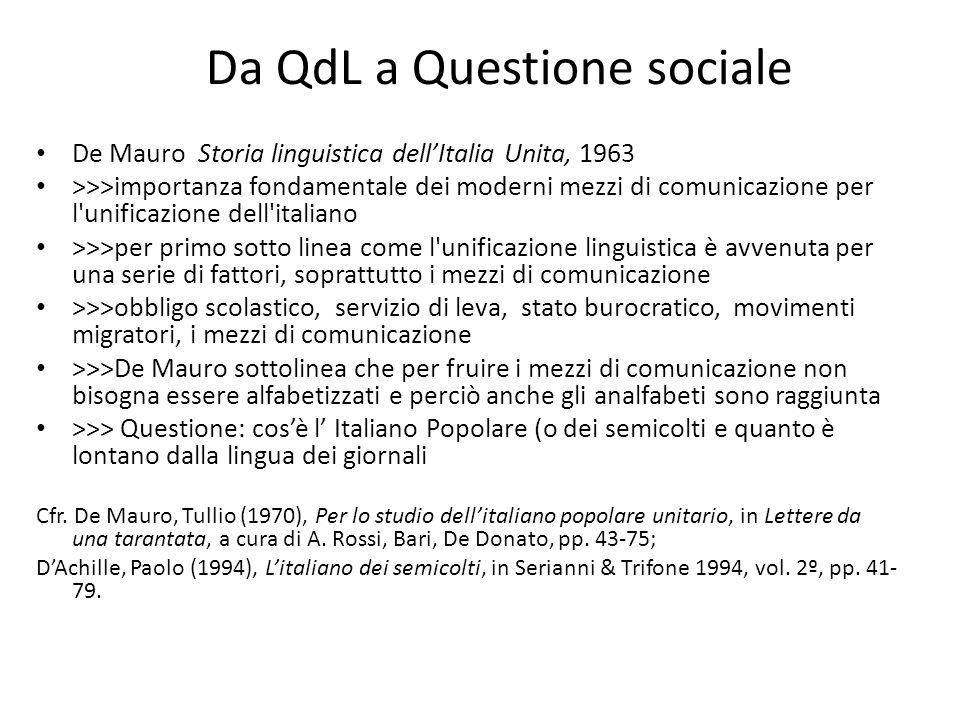 Da QdL a Questione sociale De Mauro Storia linguistica dellItalia Unita, 1963 >>>importanza fondamentale dei moderni mezzi di comunicazione per l'unif