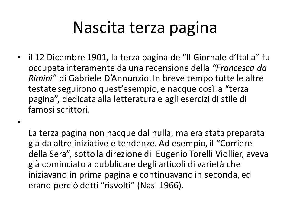 Nascita terza pagina il 12 Dicembre 1901, la terza pagina de Il Giornale dItalia fu occupata interamente da una recensione della Francesca da Rimini d
