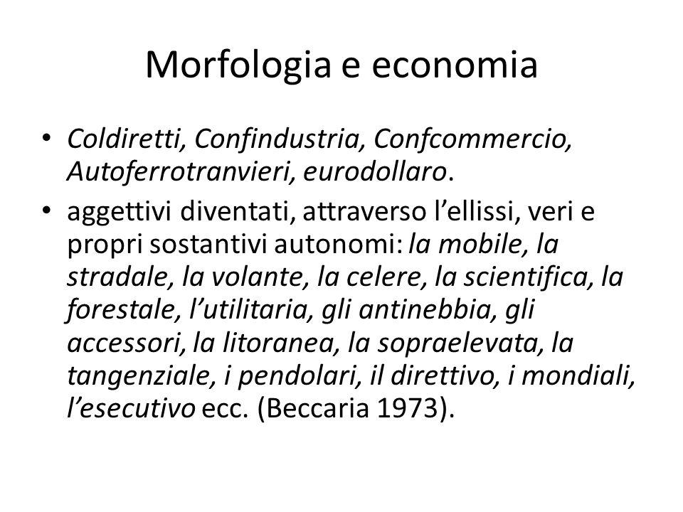 Morfologia e economia Coldiretti, Confindustria, Confcommercio, Autoferrotranvieri, eurodollaro. aggettivi diventati, attraverso lellissi, veri e prop