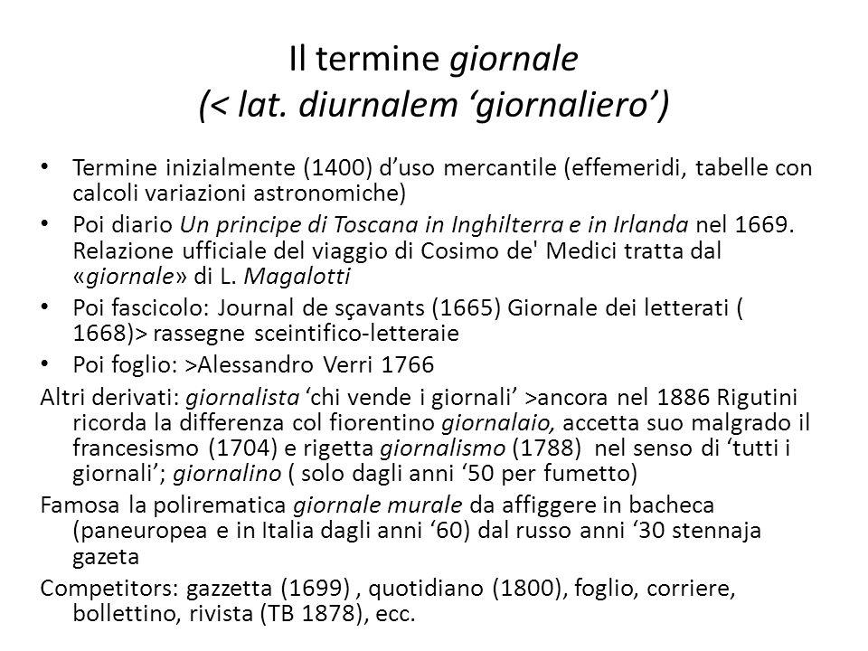 Il termine giornale (< lat. diurnalem giornaliero) Termine inizialmente (1400) duso mercantile (effemeridi, tabelle con calcoli variazioni astronomich