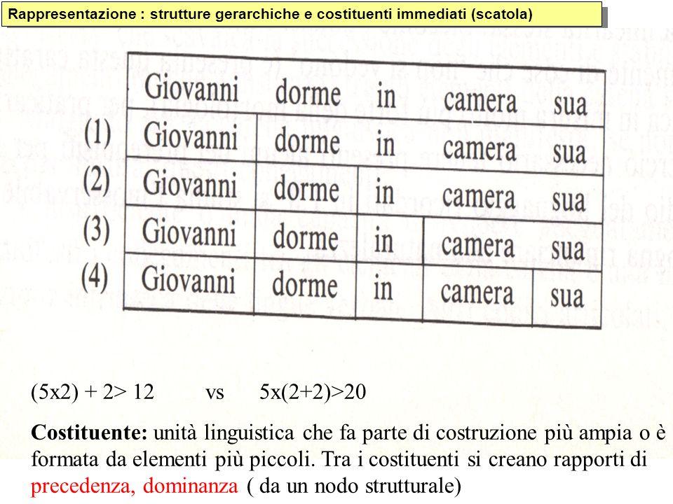 Rappresentazione : strutture gerarchiche e costituenti immediati (scatola) (5x2) + 2> 12 vs 5x(2+2)>20 Costituente: unità linguistica che fa parte di costruzione più ampia o è formata da elementi più piccoli.