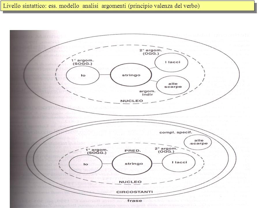 Livello sintattico: ess. modello analisi argomenti (principio valenza del verbo)