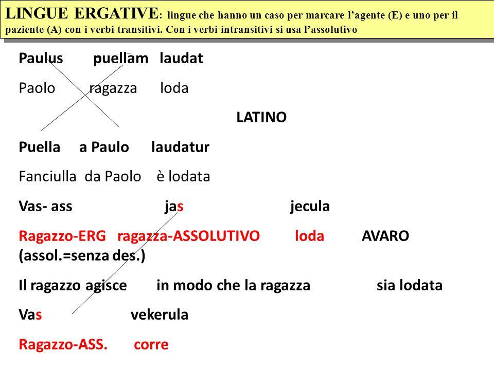 LINGUE ERGATIVE : lingue che hanno un caso per marcare lagente (E) e uno per il paziente (A) con i verbi transitivi.