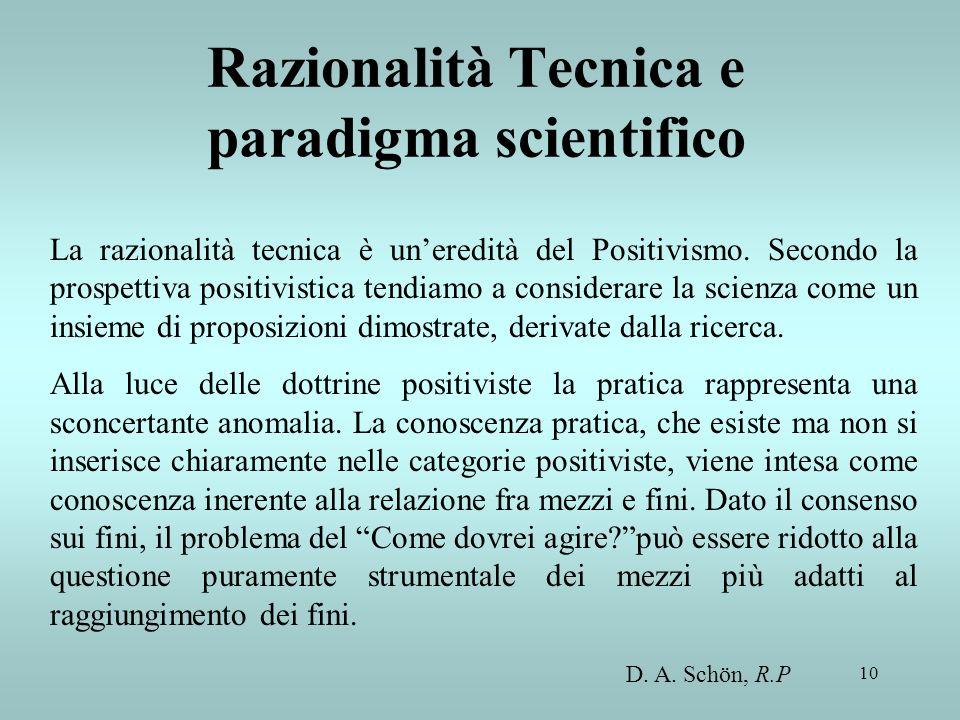 10 Razionalità Tecnica e paradigma scientifico La razionalità tecnica è uneredità del Positivismo. Secondo la prospettiva positivistica tendiamo a con