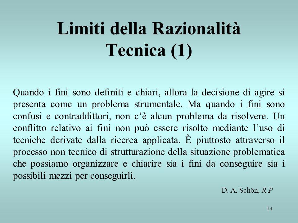 14 Limiti della Razionalità Tecnica (1) Quando i fini sono definiti e chiari, allora la decisione di agire si presenta come un problema strumentale. M