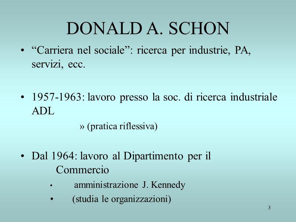 3 DONALD A. SCHON Carriera nel sociale: ricerca per industrie, PA, servizi, ecc. 1957-1963: lavoro presso la soc. di ricerca industriale ADL »(pratica