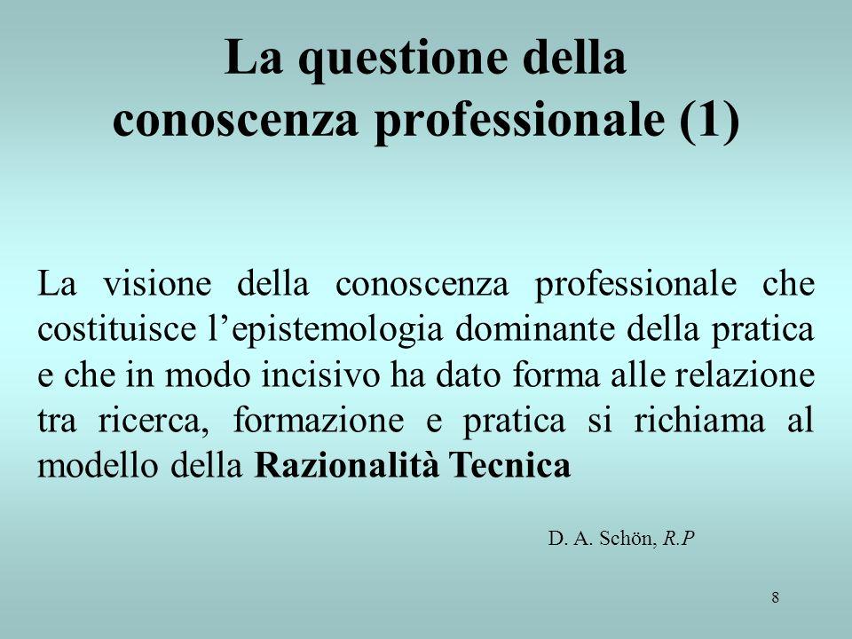 9 La questione della conoscenza professionale (2) Secondo il modello della Razionalità tecnica lattività professionale consiste nella soluzione strumentale dei problemi resa rigorosa dallapplicazione di teorie e tecniche a base scientifica D.