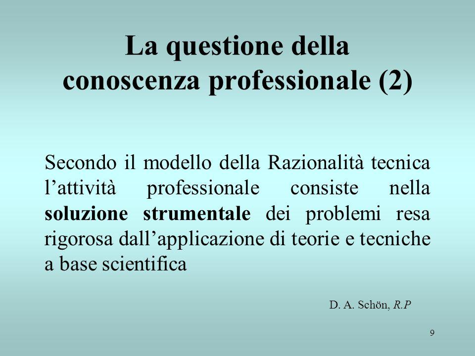 9 La questione della conoscenza professionale (2) Secondo il modello della Razionalità tecnica lattività professionale consiste nella soluzione strume