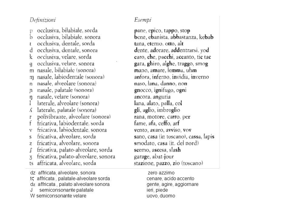 dz affricata, alveolare, sonora zero azzimo t Ϛ affricata, palatale-alveolare sorda cenare, acido accento d affricata, palato alveolare sonora gente,