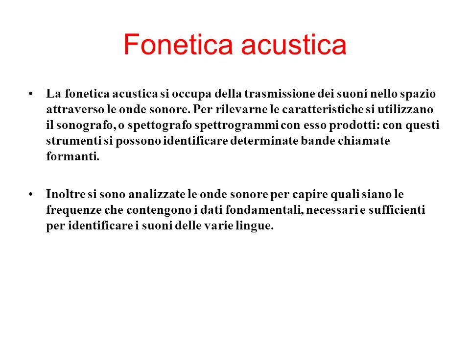 Fonetica acustica La fonetica acustica si occupa della trasmissione dei suoni nello spazio attraverso le onde sonore. Per rilevarne le caratteristiche