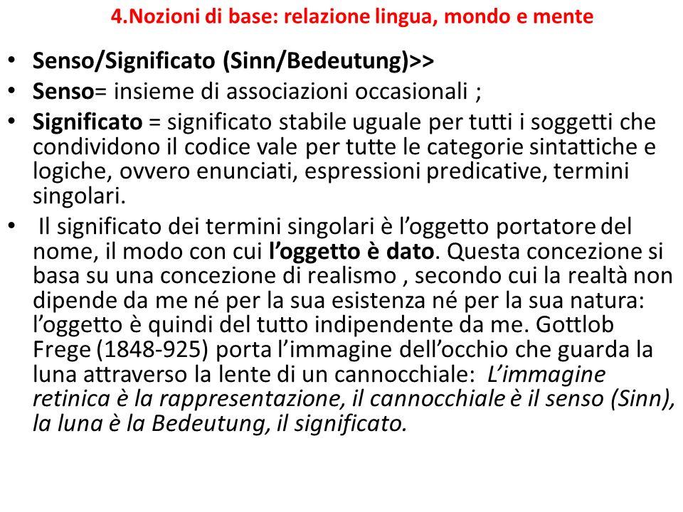 4.Nozioni di base: relazione lingua, mondo e mente Senso/Significato (Sinn/Bedeutung)>> Senso= insieme di associazioni occasionali ; Significato = sig