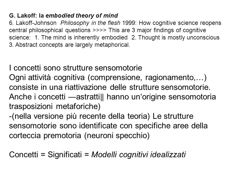 G. Lakoff: la embodied theory of mind 6. Lakoff-Johnson Philosophy in the flesh 1999: How cognitive science reopens central philosophical questions >>