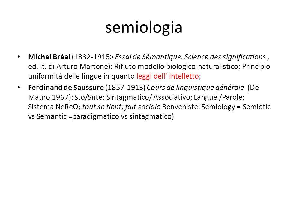 semiologia Michel Bréal (1832-1915> Essai de Sémantique. Science des significations, ed. it. di Arturo Martone): Rifiuto modello biologico-naturalisti