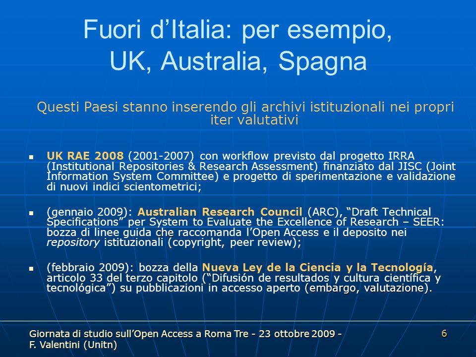 Giornata di studio sullOpen Access a Roma Tre - 23 ottobre 2009 - F.