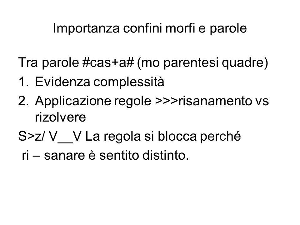 Importanza confini morfi e parole Tra parole #cas+a# (mo parentesi quadre) 1.Evidenza complessità 2.Applicazione regole >>>risanamento vs rizolvere S>