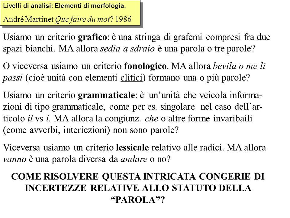 Difficoltà individuazione morfemi e confini In turco: el-ler-i-n-e = {mano} + {PLURALE} + {suo} + n + {DATIVO} el-ler-i-ne = {mano} + {PLURALE} + {tuo} + {DATIVO} In italiano Rifare vs ritenere In italiano –igian- in cortigiano è un morfo cranberry <<<<<Per via dell Inglese cranberry, huckleberry etc.