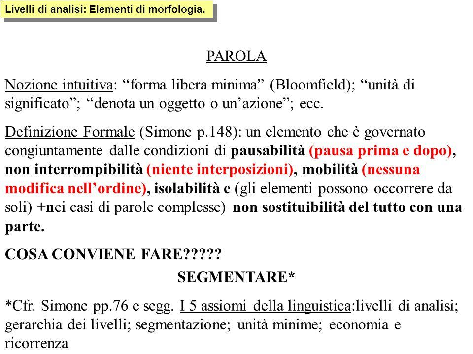 Livelli di analisi: Elementi di morfologia. PAROLA Nozione intuitiva: forma libera minima (Bloomfield); unità di significato; denota un oggetto o unaz