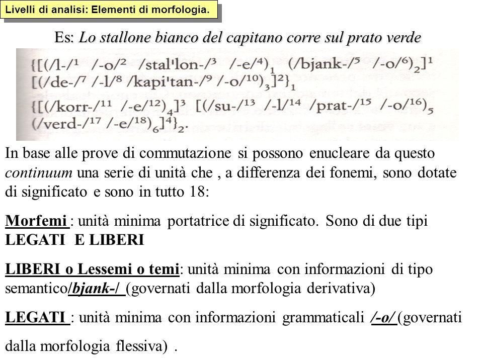 Livelli di analisi: Unità morfologiche Altre denominazioni in uso: - morfema o morfo grammaticale che può essere sia libero (ma) sia legato (-iamo dette secondo la gramm.