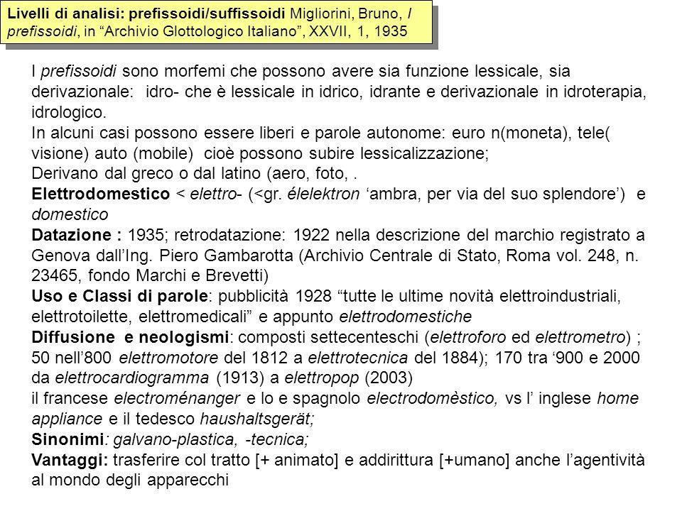 Livelli di analisi: prefissoidi/suffissoidi Migliorini, Bruno, I prefissoidi, in Archivio Glottologico Italiano, XXVII, 1, 1935 I prefissoidi sono mor