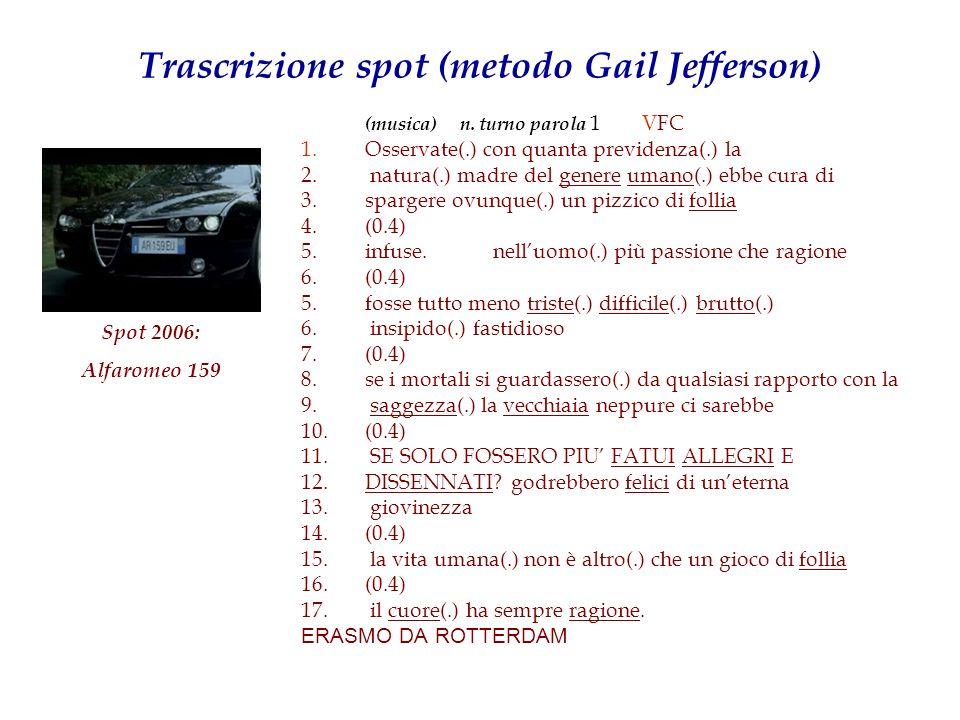 Trascrizione spot (metodo Gail Jefferson) (musica) n. turno parola 1 VFC 1. Osservate(.) con quanta previdenza(.) la 2. natura(.) madre del genere uma