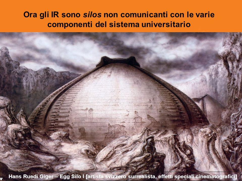 Ora gli IR sono silos non comunicanti con le varie componenti del sistema universitario Hans Ruedi Giger – Egg Silo I [artista svizzero surrealista, effetti speciali cinematografici]