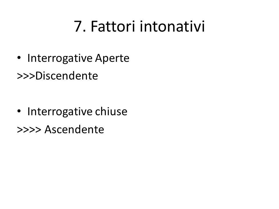 7. Fattori intonativi Interrogative Aperte >>>Discendente Interrogative chiuse >>>> Ascendente