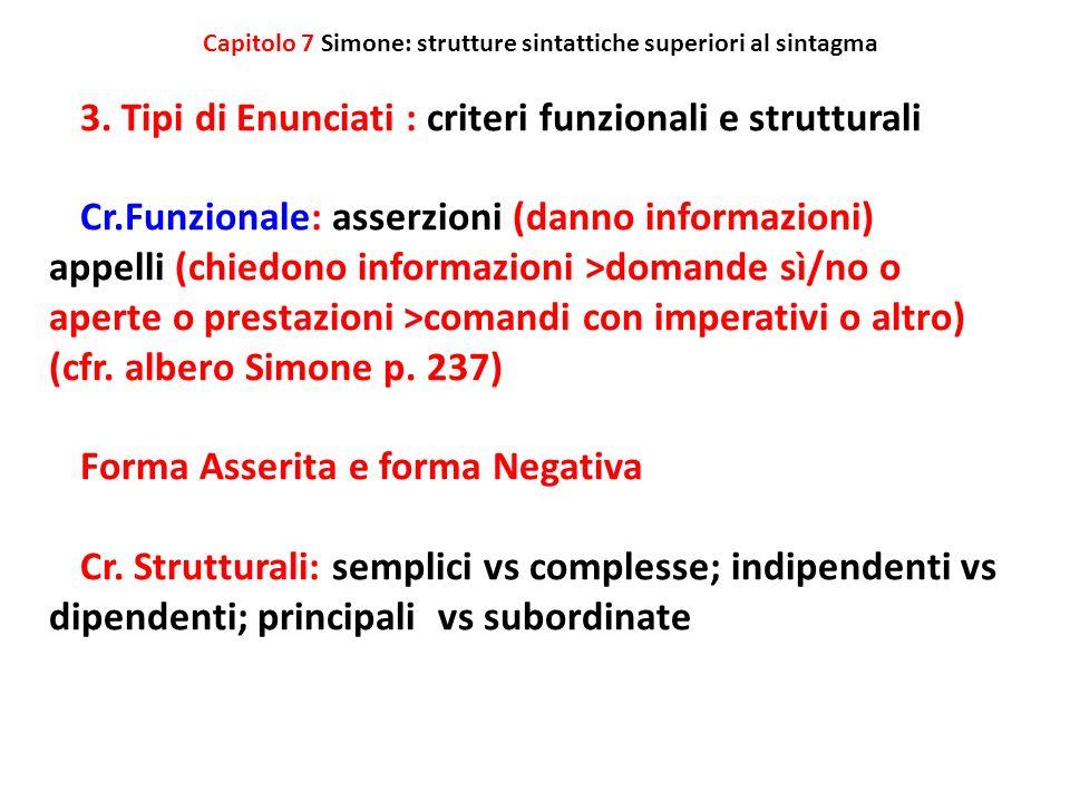 Capitolo 7 Simone: strutture sintattiche superiori al sintagma 3. Tipi di Enunciati : criteri funzionali e strutturali Cr.Funzionale: asserzioni (dann