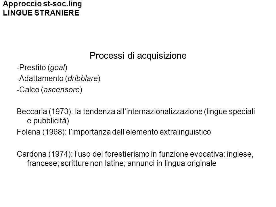 Processi di acquisizione -Prestito (goal) -Adattamento (dribblare) -Calco (ascensore) Beccaria (1973): la tendenza allinternazionalizzazione (lingue s