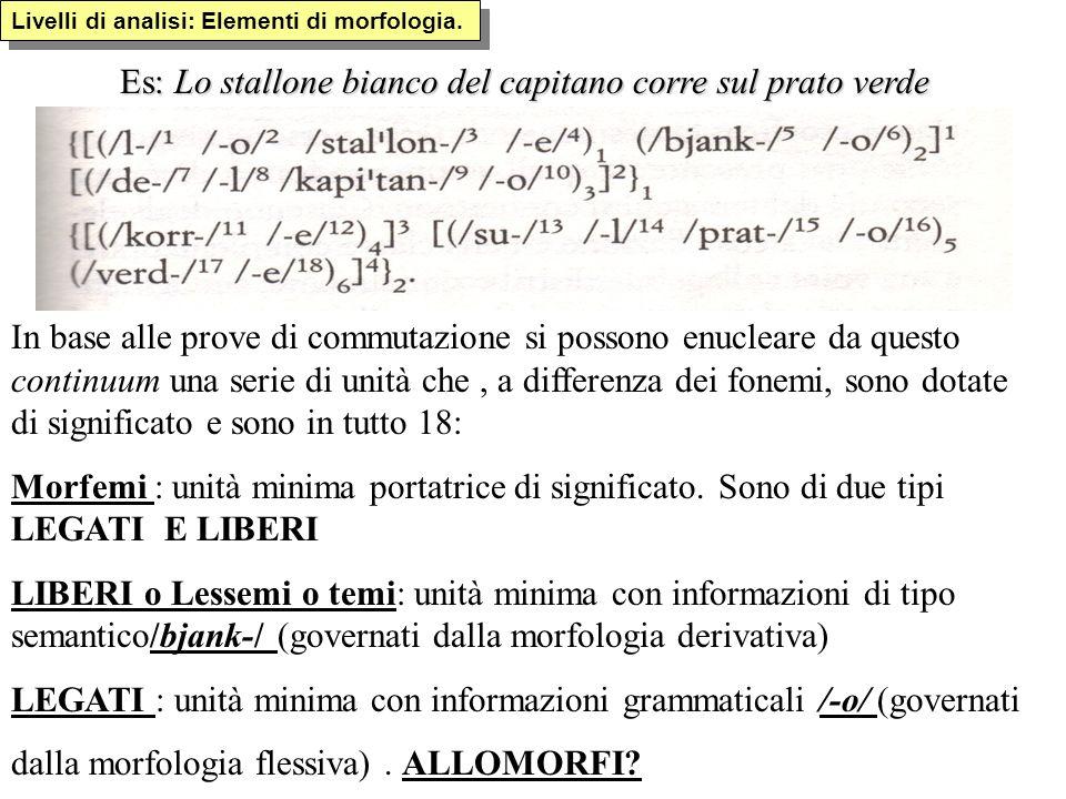Es: Lo stallone bianco del capitano corre sul prato verde In base alle prove di commutazione si possono enucleare da questo continuum una serie di uni