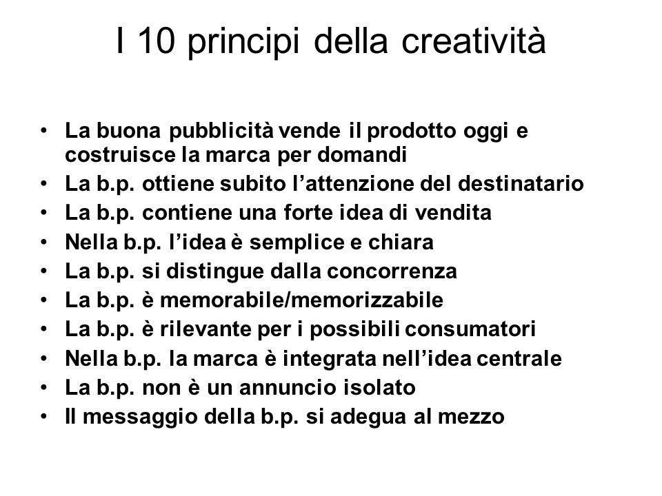 I 10 principi della creatività La buona pubblicità vende il prodotto oggi e costruisce la marca per domandi La b.p. ottiene subito lattenzione del des