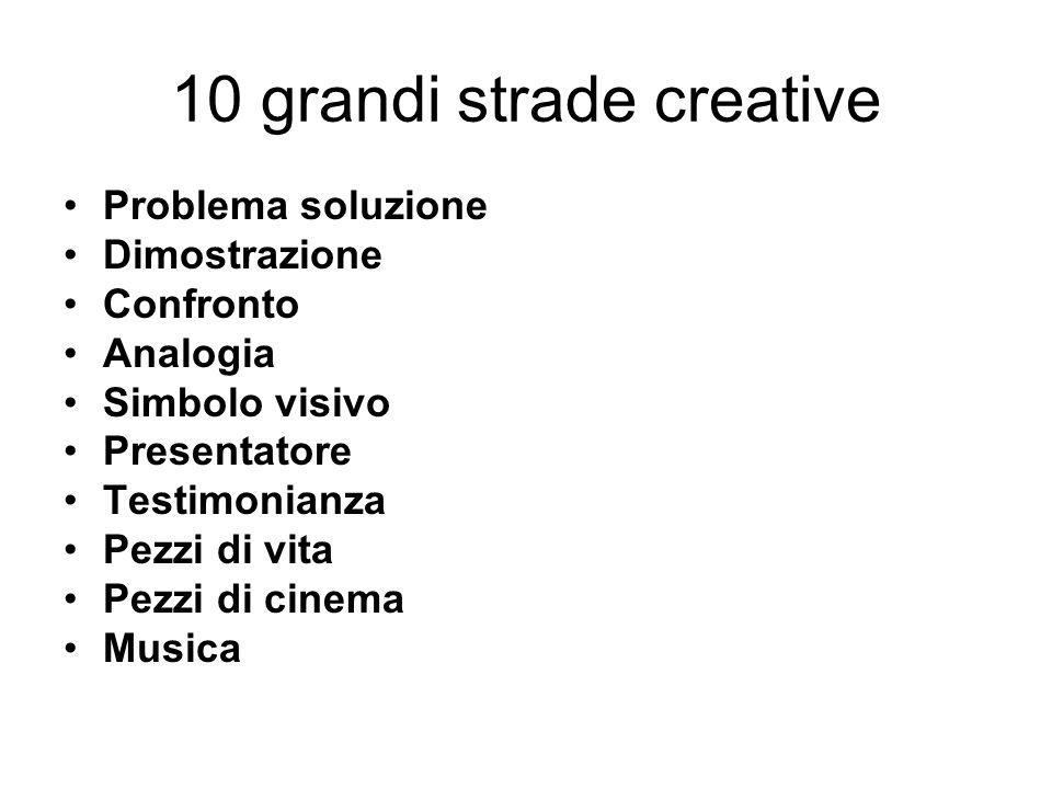 10 grandi strade creative Problema soluzione Dimostrazione Confronto Analogia Simbolo visivo Presentatore Testimonianza Pezzi di vita Pezzi di cinema