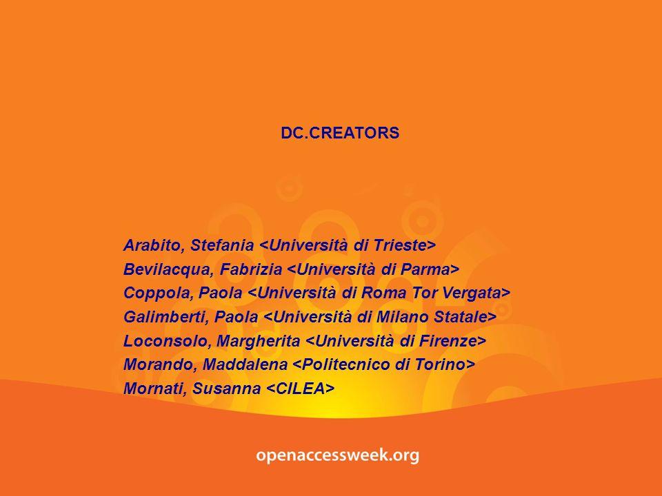 DC.CREATORS Arabito, Stefania Bevilacqua, Fabrizia Coppola, Paola Galimberti, Paola Loconsolo, Margherita Morando, Maddalena Mornati, Susanna