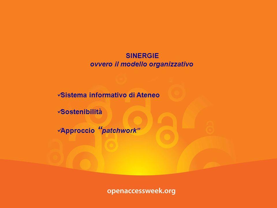SINERGIE ovvero il modello organizzativo Sistema informativo di Ateneo Sostenibilità Approccio patchwork
