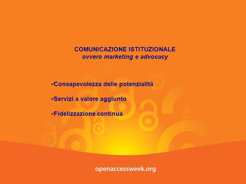 COMUNICAZIONE ISTITUZIONALE ovvero marketing e advocacy Consapevolezza delle potenzialità Servizi a valore aggiunto Fidelizzazione continua