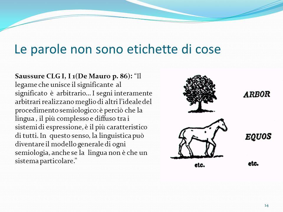14 Le parole non sono etichette di cose Saussure CLG I, I 1(De Mauro p.