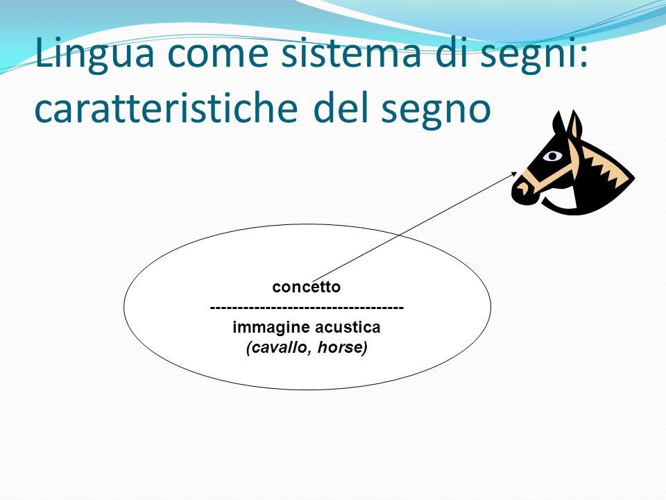 Lingua come sistema di segni: caratteristiche del segno concetto ----------------------------------- immagine acustica (cavallo, horse)
