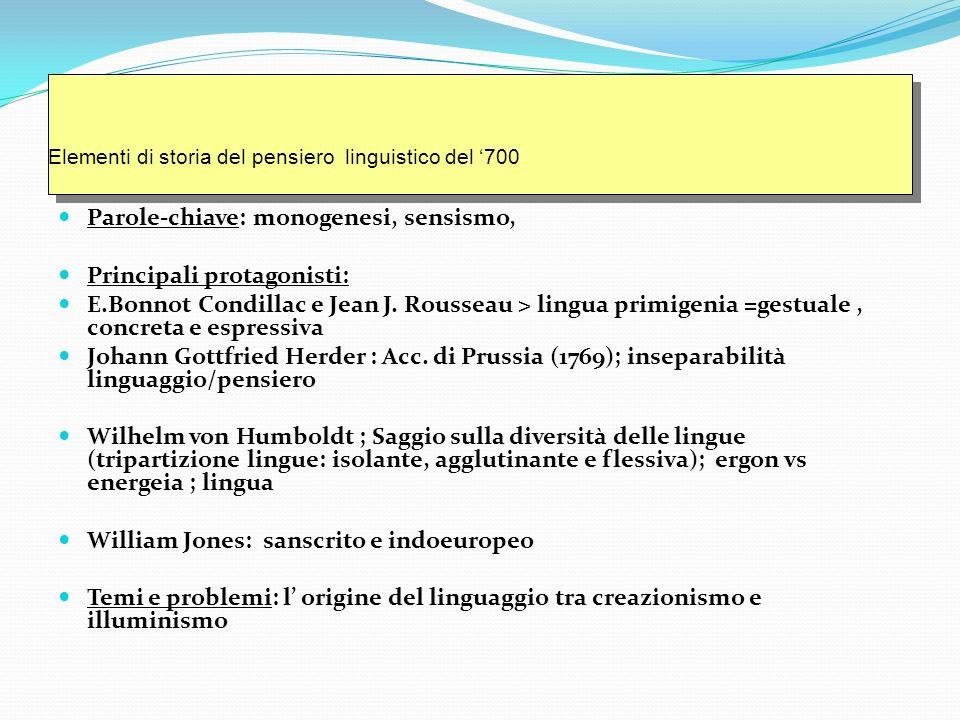 Parole-chiave: monogenesi, sensismo, Principali protagonisti: E.Bonnot Condillac e Jean J.