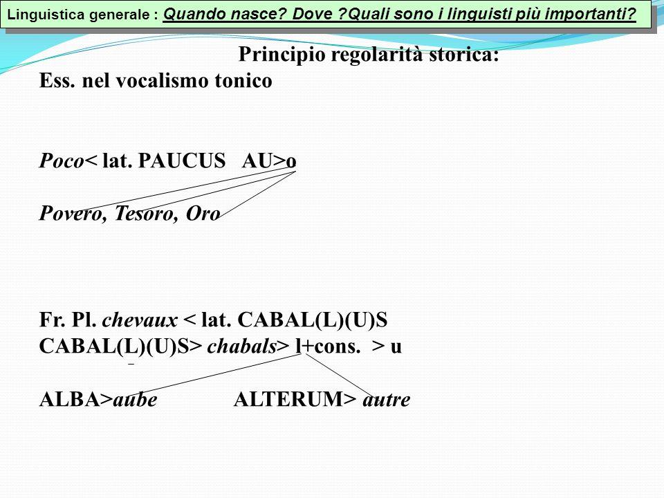 Principio regolarità storica: Ess.nel vocalismo tonico Poco o Povero, Tesoro, Oro Fr.