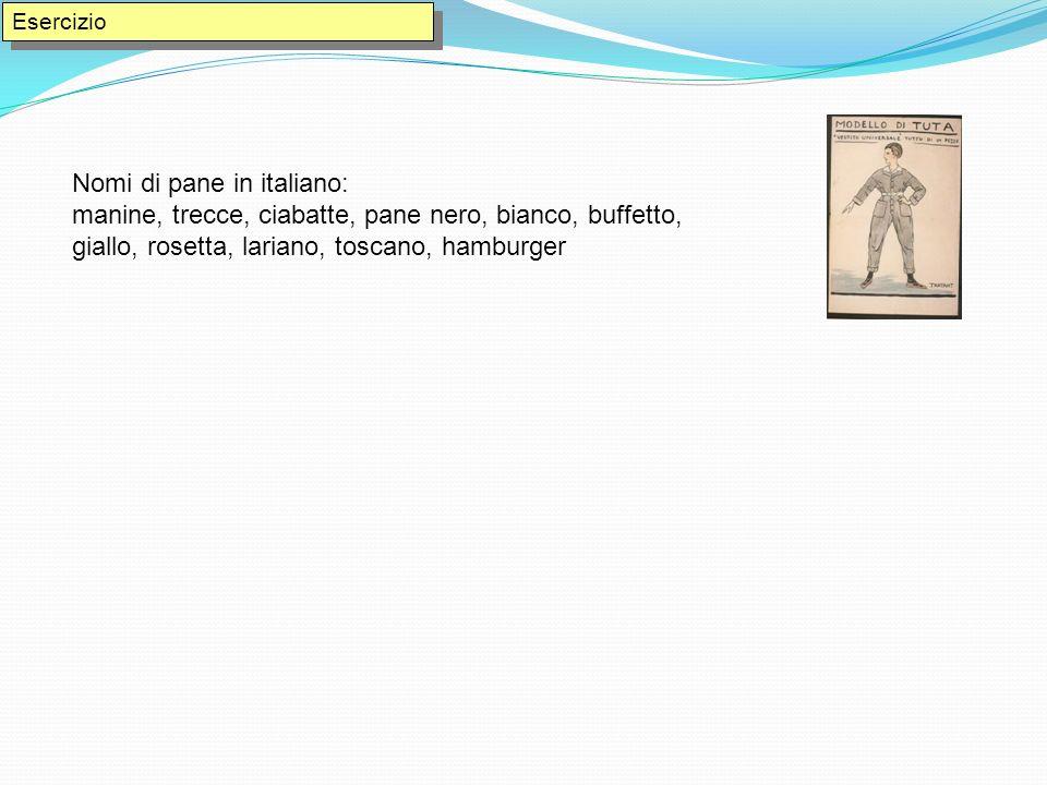 Nomi di pane in italiano: manine, trecce, ciabatte, pane nero, bianco, buffetto, giallo, rosetta, lariano, toscano, hamburger Esercizio
