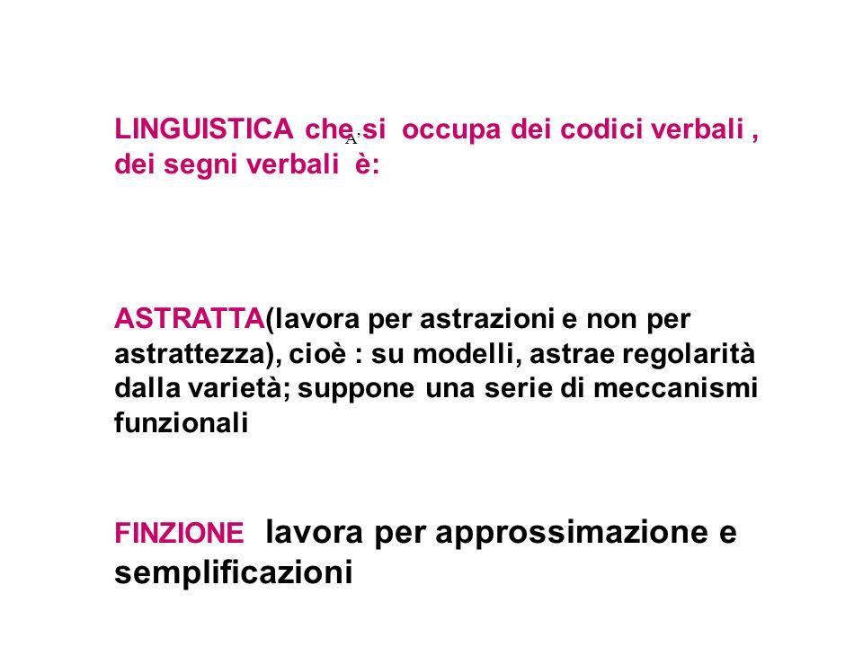 A LINGUISTICA che si occupa dei codici verbali, dei segni verbali è: ASTRATTA(lavora per astrazioni e non per astrattezza), cioè : su modelli, astrae